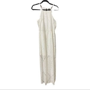 Lilly Rose white sheer lace maxi dress size large